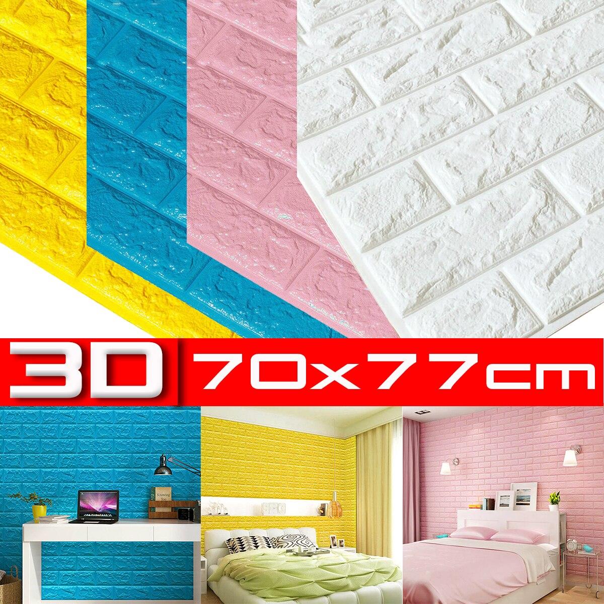 10Pcs 70x77x0.6cm Brick Wall Stickers DIY Decor Self-Adhesive Waterproof Wallpaper For Kids Room Bedroom 3D Wall Sticker Brick